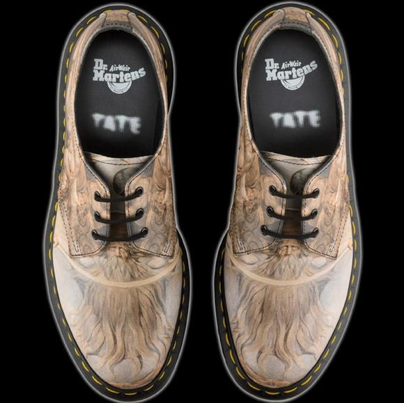 Dr. Martens Gray 1461 William Blake Print 3 Eye Shoes